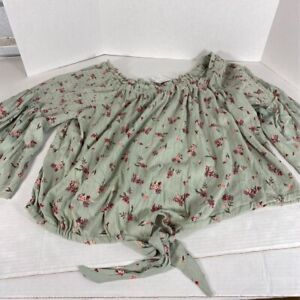 Angie Womens Blouse Sage Green Floral Bell Sleeve Front Tie Knot Top Plus 1X New