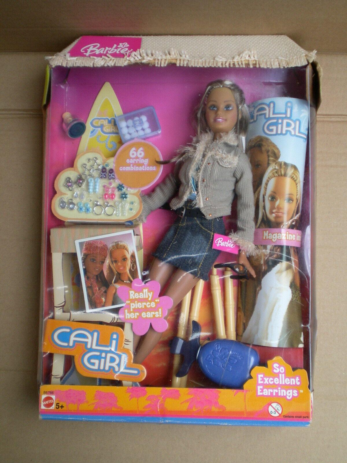 Rare Barbie Cali Girl So Excellent Earrings Really Pierce Doll 2004 Mattel BNIB