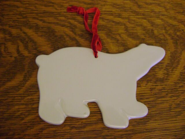 Pottery Barn Kids Polar Bear Ceramic Ornament Christmas