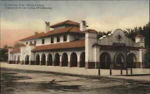 Stockton CA Santa Fe RR Train Station Depot c1910 Hand Colored Postcard