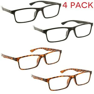 4-Pack-Reading-Glasses-Clear-Lens-Rectangle-Readers-for-Men-and-Women