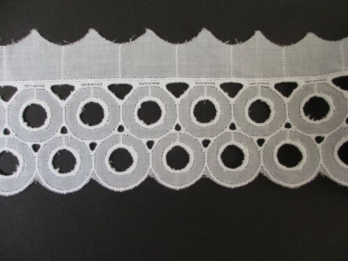 """2  3//4/""""  Wide WHITE Cotton Embroidered Circles Trim 2 yards"""