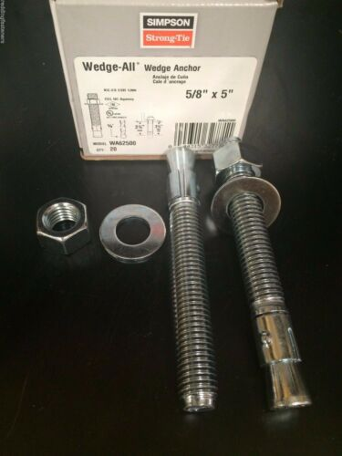 """20PK Red Head Simpson Strong-Tie WA62500 Wedge-All Anchor Stud 5//8-11 X 5/"""""""