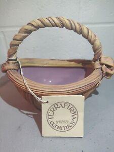 Ellen-Evans-Terrafirma-Ribbon-amp-Bow-Semi-Glazed-Pottery-Basket-1988-Signed