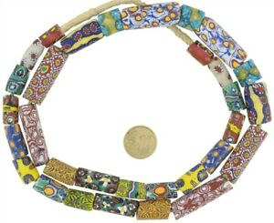 Antique-millefiori-Venetian-glass-beads-Murano-mosaic-old-African-trade-necklace