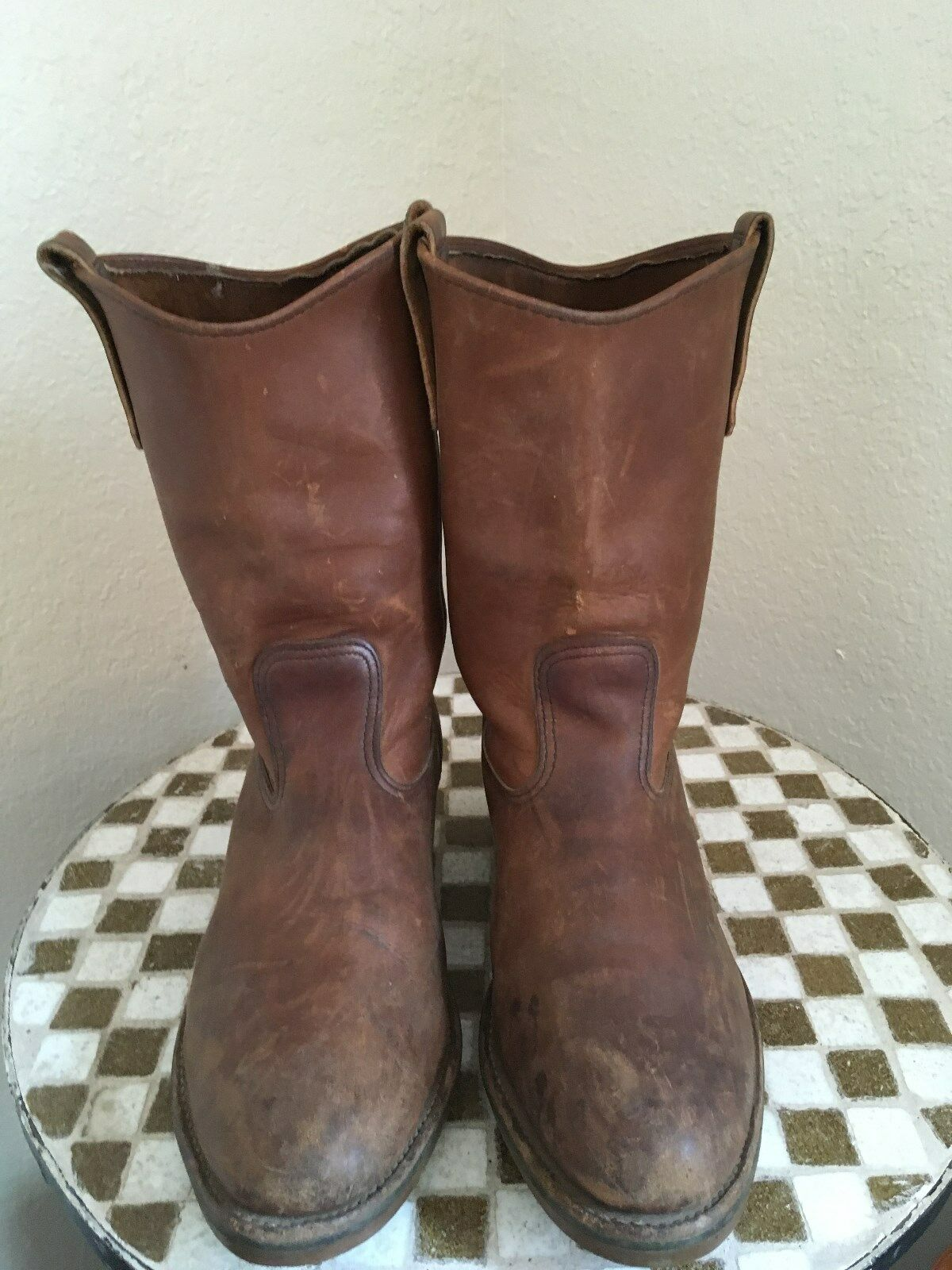STEEL TOE USA 1986 VINTAGE DISTRESSED BROWN RED WING CHORE FARM WORK BOOTS 8 EE