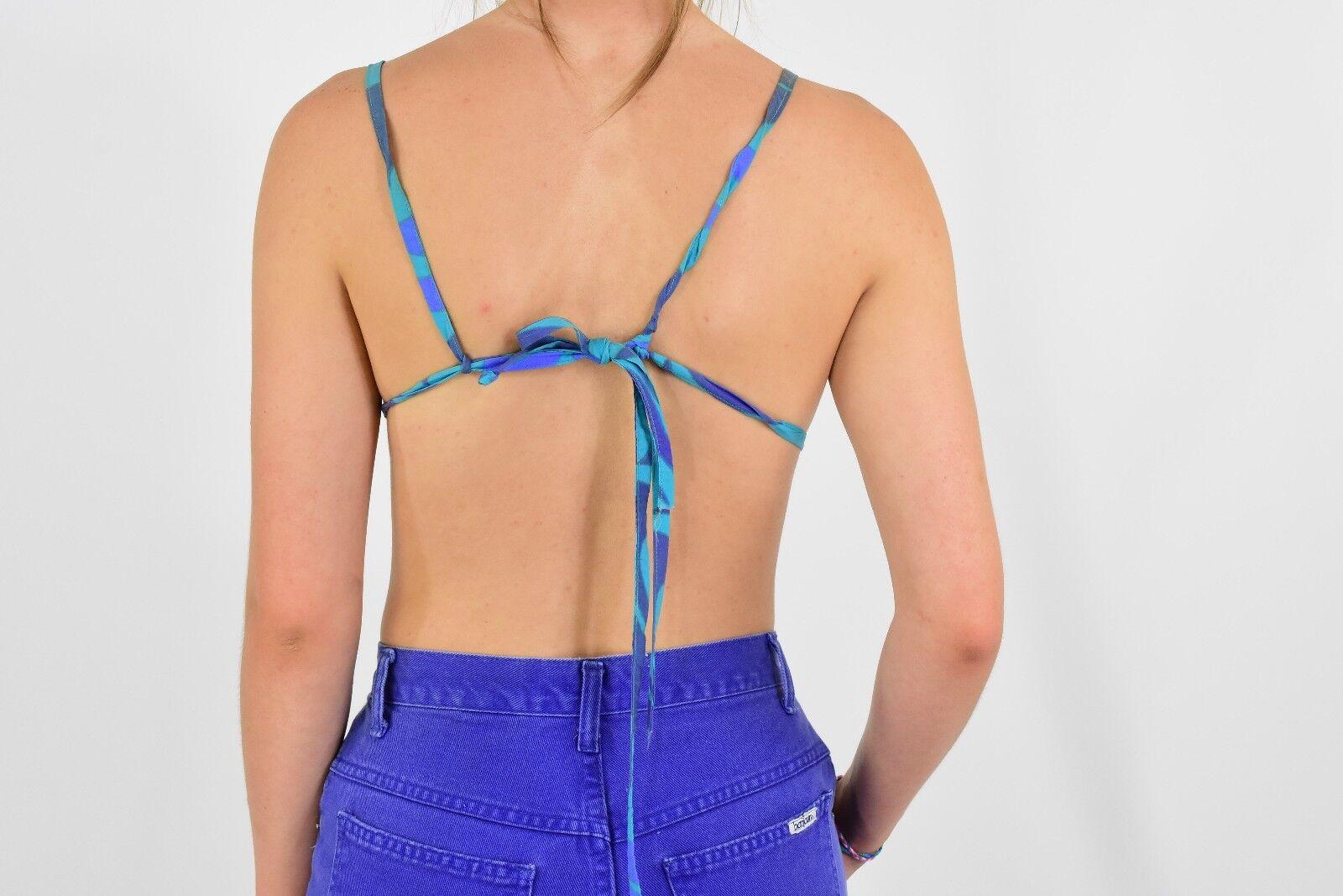 1940's Vintage Bikini Top Blue & Purple Size XS 3… - image 5