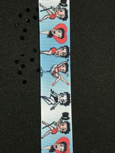 "Betty Boop Cartoon Printed Grosgrain Ribbon 22mm 7//8/""//Single Side//Hair Craft"