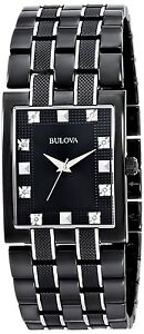 new bulova 98d111 two tone black ion stainless steel diamond dial image is loading new bulova 98d111 two tone black ion stainless