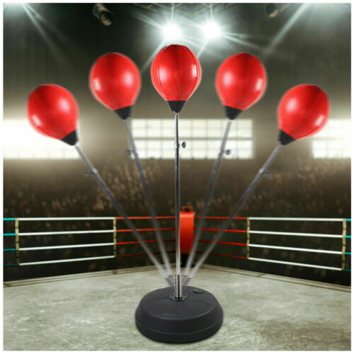 Boxing Speed Ball Train Free Standing Punching Bag Adjustable MMA Fight Gloves H