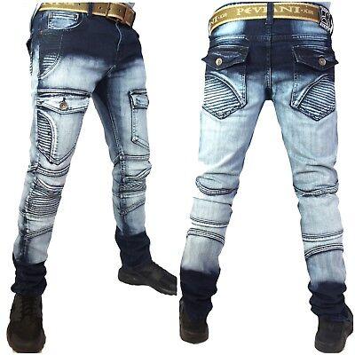 Peviani rock star denim Mens combat jeans hip hop cargo g stonewash urban slim