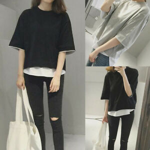 Loose-Short-Sleeve-Blouse-T-shirt-Women-Casual-Summer-Beach-Tee-Fashion-Tops-New