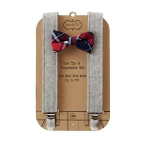 Mud-Pie-H7-Baby-Boy-up-to-5T-Adjustable-Bow-Tie-amp-Tweed-Suspender-Set-1582151