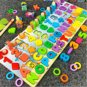 Montessori-Wooden-Fishing-Game-Toys-Kids-Preschool-Educational-Board-Math-Toys