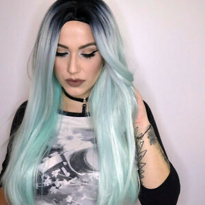 Synthetic-Long-Straight-Hair-Ombre-Green-Wig-Middle-Part-Natural-Wigs-for-Women