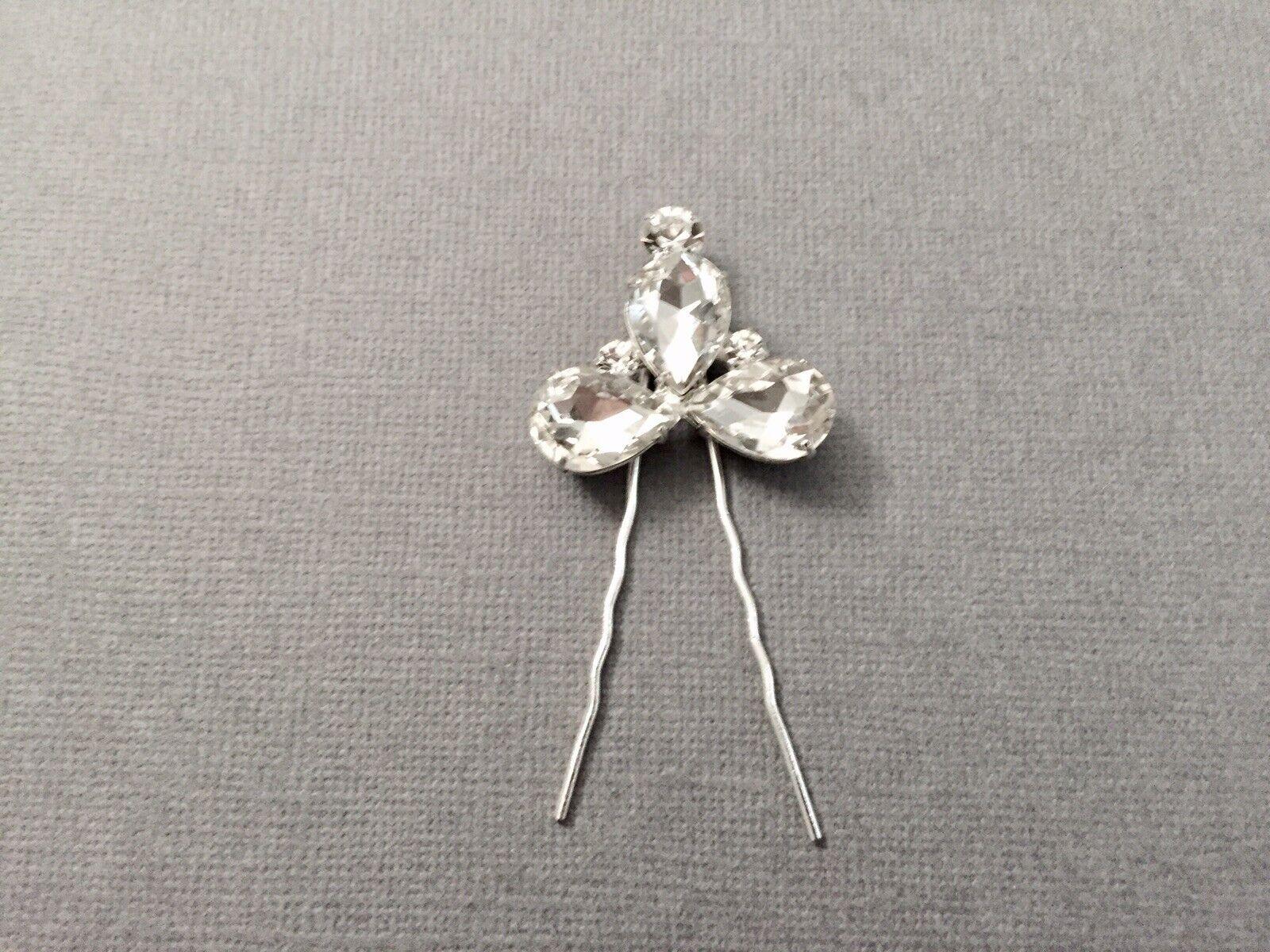 Vintage Silver Crystal Bridal Rhinestone Hair Pin Comb Clip Luxury Wedding New