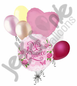 7pc Mis Quince Pink Flowers Happy Birthday Balloon Bouquet Party
