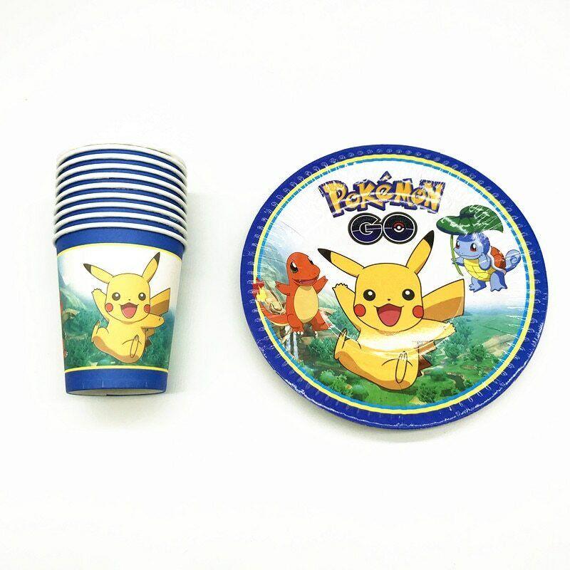POKEMON GO PIKACHU Kids birthday party supplies tableware decoration plates cup