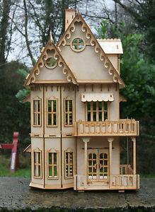 Audacieux Laser Cut Ply En Bois Maison De Poupées Gothique Villa 3d Puzzle/kit-afficher Le Titre D'origine