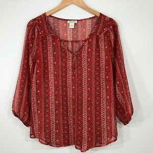 Lucky-Brand-Sheer-Popover-Peasant-Boho-Blouse-Top-Womens-M-Red-Paisley-Floral