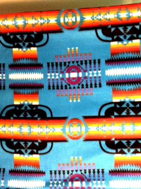 Native American Indian Aztec Navajo fleece fabric on blue, 60