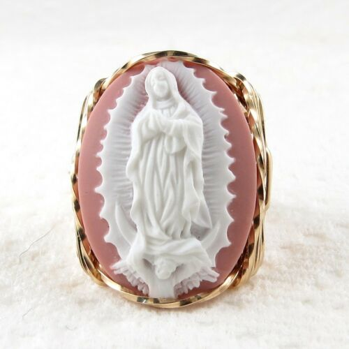 Our Lady Of Guadalupe Cameo Ring 14K Rolled Gold Jewelry Any Size Pink Resin