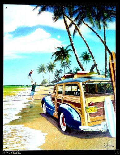 * Woody Surfer Poster Surfschule Tiki Hawaii Surfing Schild *730