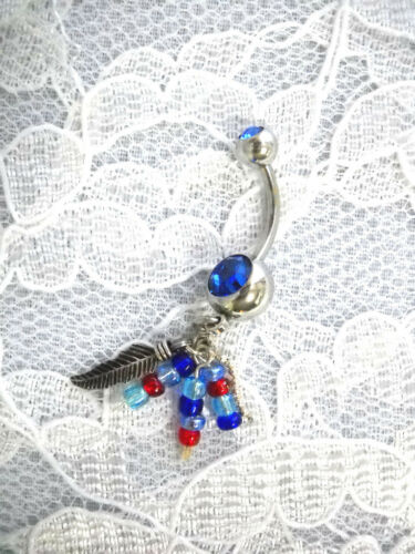 STERLING SILVER FEATHER /& SEED BEAD TASSLES w COBALT BLUE CZ BELLY BUTTON RING
