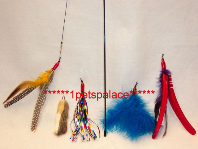 Da Bird feather wand cat toy & 4 Attachment refills Go Cat interactive free ship