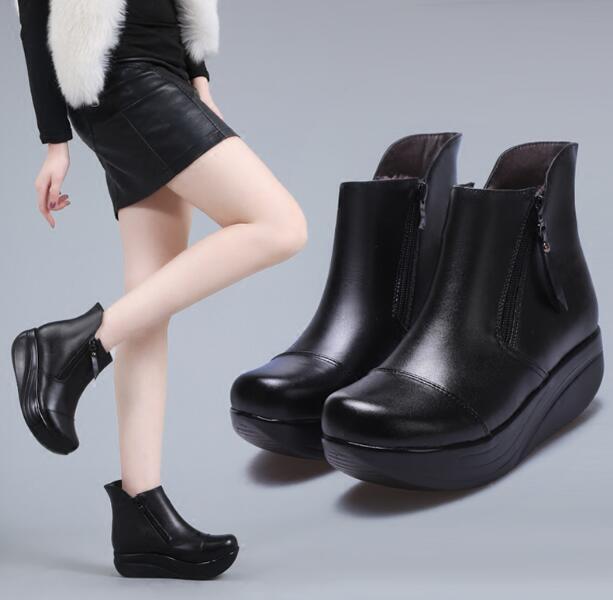 Plataforma de cuña para Mujer Cuero Real Alta Creepers Creepers Creepers Tobillo botas De Montar Zapatos de G626  más descuento