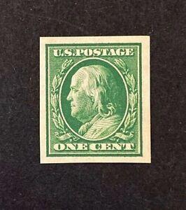 US-Stamps-Scott-383-1c-1910-Franklin-Imperf-XF-Superb-M-NH-Balanced-margins