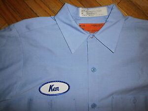 Ken name patch work shirt oval sewn embroidered uniform for Embroidered work shirts online
