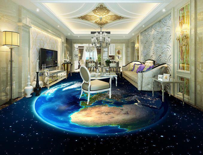3D la Terra stella blue Pavimento Foto Wallpaper Murales Muro Stampa Decalcomania