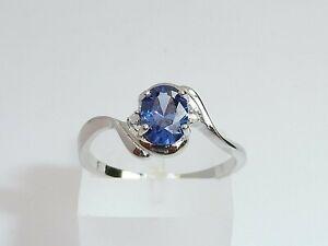 Ladies-925-Solid-Fine-Silver-With-Platinum-Finish-Diamond-amp-Tanzanite-Ring