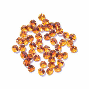 50-PCS-Amber-Crystal-Octagon-Faceted-Glass-Prism-Beads-Chandelier-Part-14mm