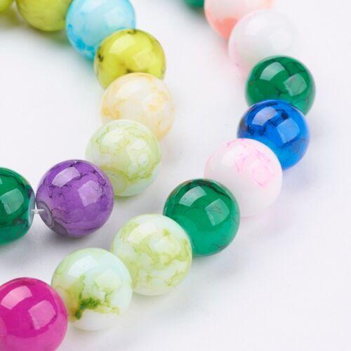 50 Pcs 10 mm perles de verre marbré un Tutti Frutti Verre Perles Beads 4012