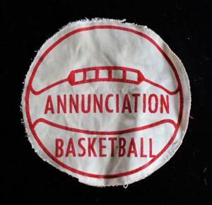 Vintage-597mS-600mS-Escuela-Baloncesto-Rojo-y-Blanco-Parche-15-2cm-X-15-2cm