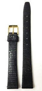 VINTAGE-12MM-BLACK-GENUINE-LEATHER-STRAP-BAND-GOLD-TONE-BUCKLE-NOS