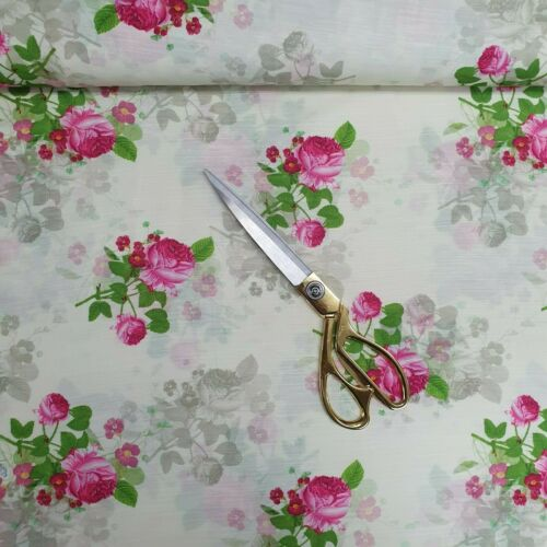 "44/"" Poly Cotton Muslin Floral 3D Digital Spring Summer Print Dressmaking Fabric"