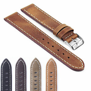 Vintage-Style-Distressed-Matte-Leather-Mens-Watch-Band-Strap-with-Stitching