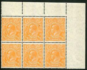 Australia KGV CofA Wmk ½d Orange BW:69A upper-right corner block of 6...