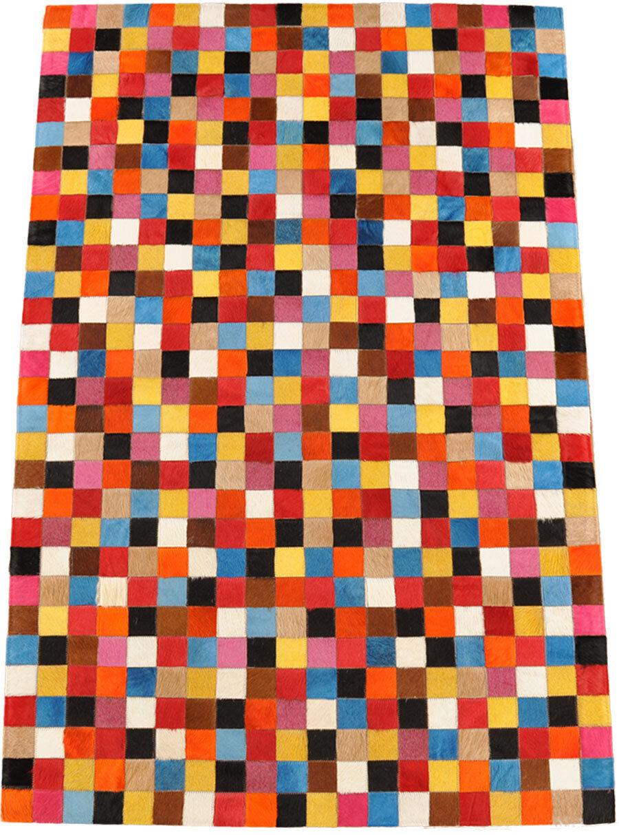 Tapis en cuir de cm vache patchwork multicolore 150 x 100 cm de peau 0f07b7
