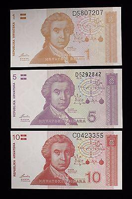 CROATIA 5  DINARA  1991 P 17   LOT  5  PCS   Uncirculated Banknotes