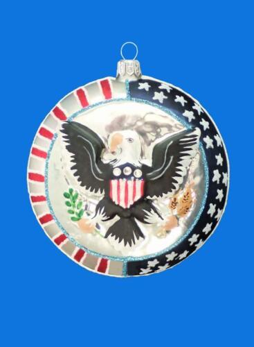 USA AMERICAN GREAT SEAL BALD EAGLE EUROPEAN BLOWN GLASS CHRISTMAS TREE ORNAMENT