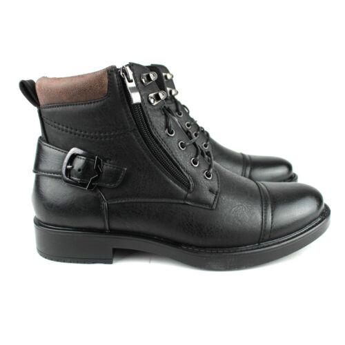 New Mens Dress Casual Ankle Boots Lace Up Black Cap Toe Zipper Alberto Fellini
