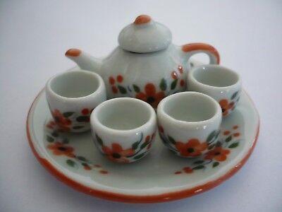 4 Coffee Pot Teapot Red Orchid Flower Paint Dollhouse Miniature Ceramic 12941