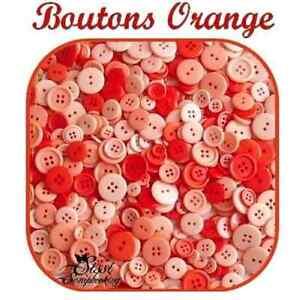 LOT-45-BOUTON-ORANGE-CLAIR-FONCE-SCRAPBOOKING-COUTURE-LAYETTE-ENFANT-SCRAP-CARTE