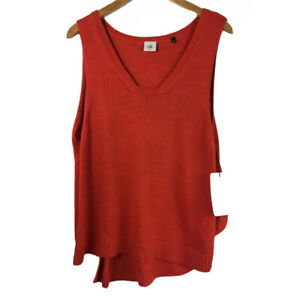 CAbi-Siren-Vest-Size-M-Cotton-Linen-Orange-Lagenlook-5012-Sweater-Knit-Unique