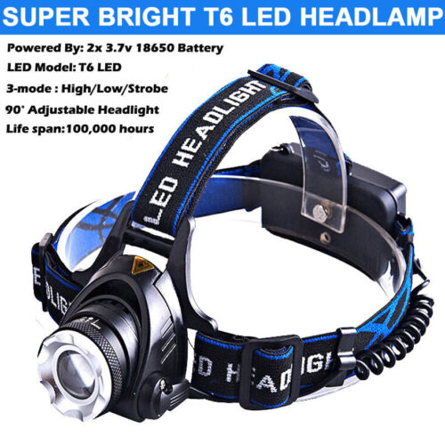 Zoomable 50000LM Torch T6 LED Headlamp Head Light Lamp+Charger+18650 Battery
