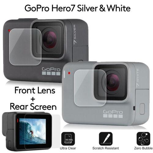 2//4 anti-arañazos Protector de Pantalla de Vidrio Templado GoPro Hero 7 Blanco Plata